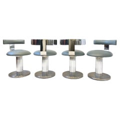 Set of Four Stainless Steel Swivel Stools or Chairs by Design For Leisure