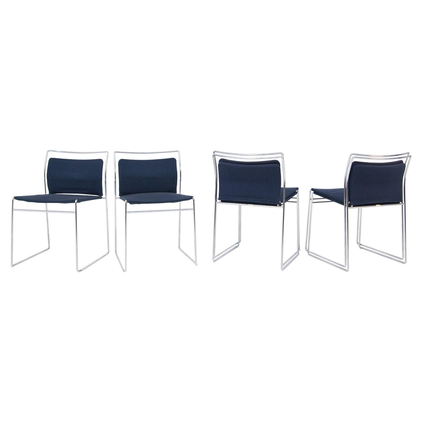 Set of Four Steel and Cotton Chairs by Kazuhide Takahama