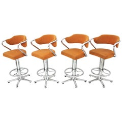 Set of Four Steel Swivel Bar Stools with Arms, Spain, 1970s