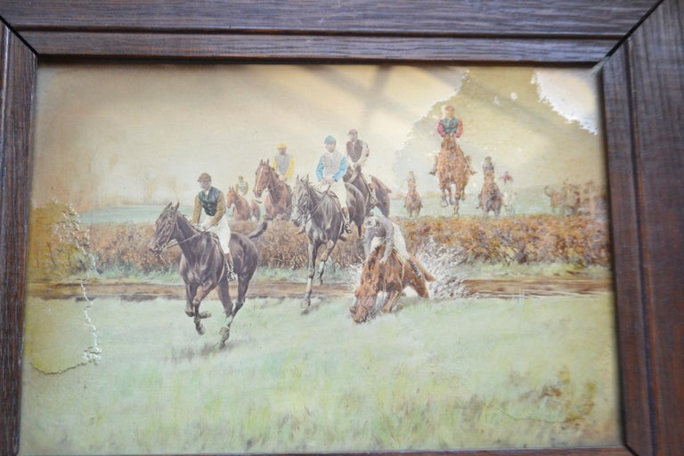 Set of Four Steeplechase Prints by Thomas Blinks In Fair Condition For Sale In Vista, CA