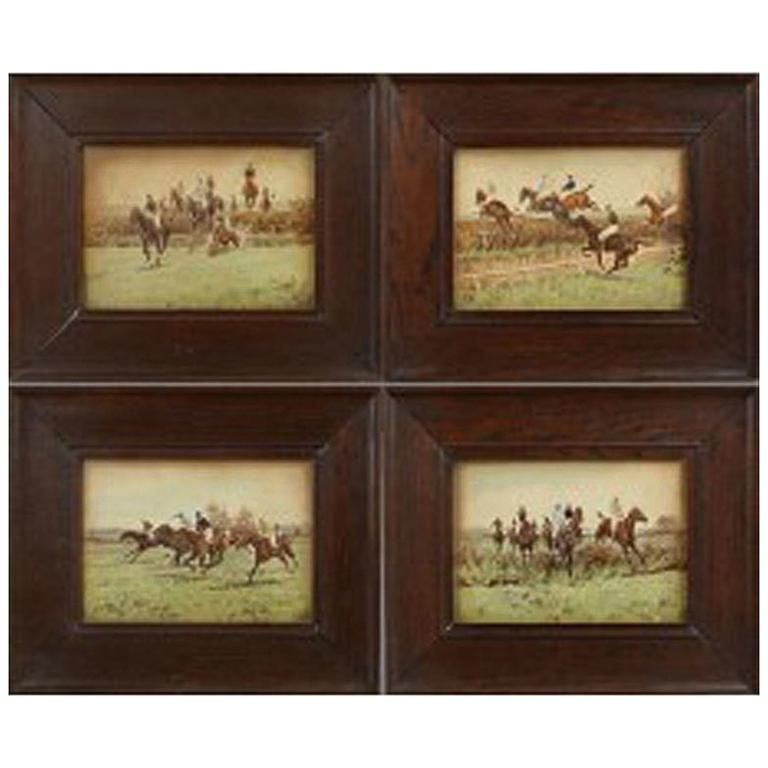 Set of Four Steeplechase Prints by Thomas Blinks For Sale
