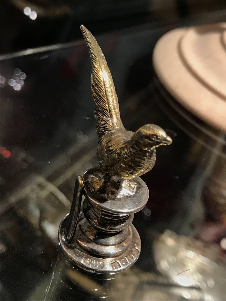 Set of Four Birds Place Card Holders Sterling Silver by E H W & Co London 1914 For Sale 8