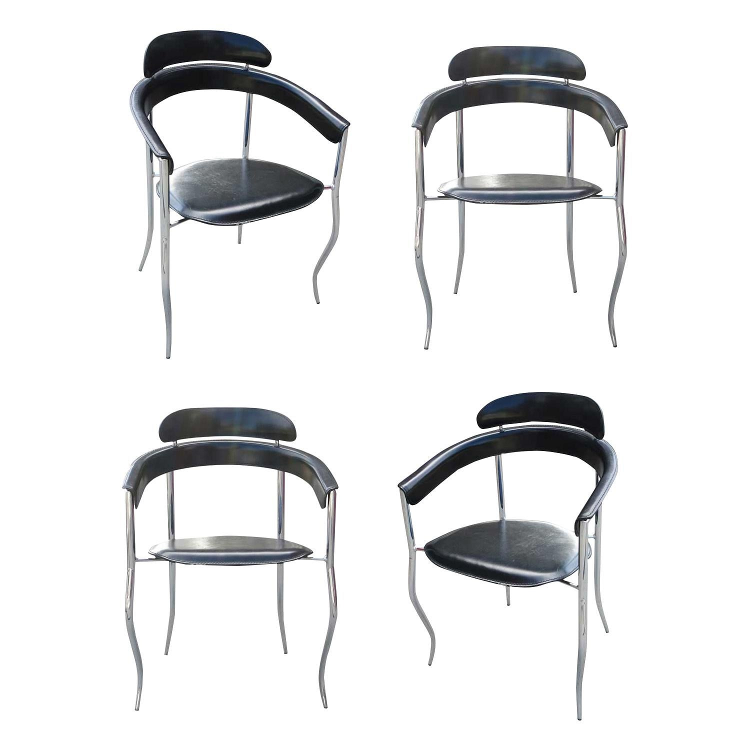 Set of Four Stiletto Architectural Chairs by Arrben, Italy