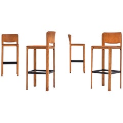Set of FourStitched Leather Barstools in Cognac Leather by Matteo Grassi