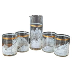 Set of Four Stock Market / Dow Jones / Cocktail Glasses & Pitcher by Cera