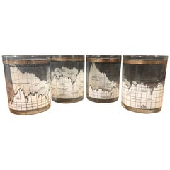 Set of Four Stock Market / Wall Street / Dow Jones / Cocktail Glasses by Cera