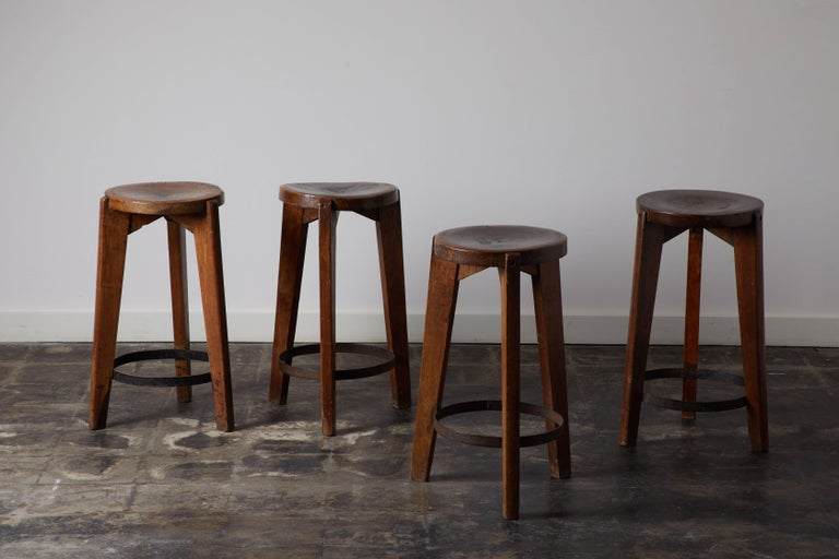 French Set of Four Stools by Pierre Jeanneret for Punjab University in Chandigarh For Sale