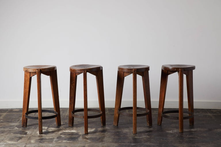 Mid-20th Century Set of Four Stools by Pierre Jeanneret for Punjab University in Chandigarh For Sale