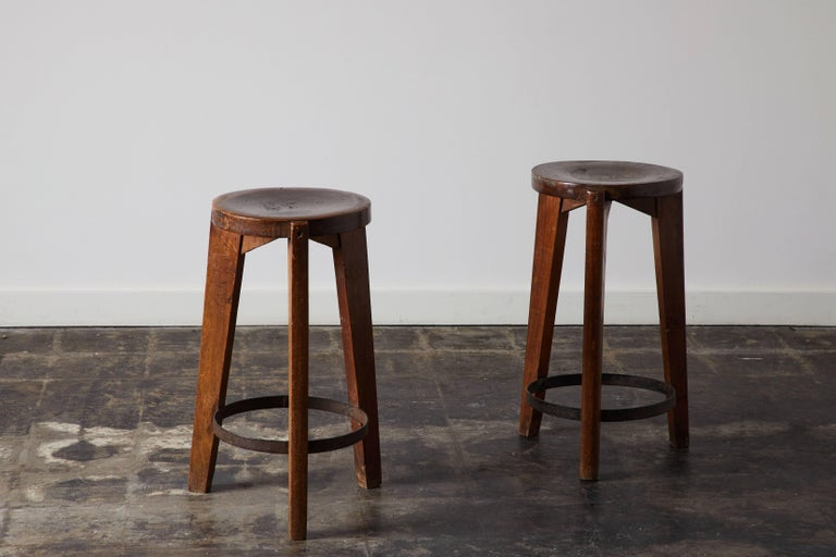 Steel Set of Four Stools by Pierre Jeanneret for Punjab University in Chandigarh For Sale