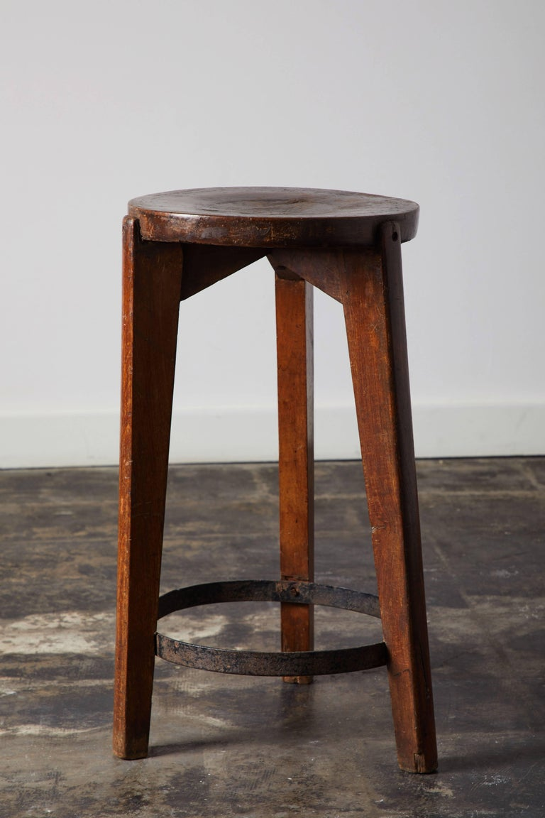 Set of Four Stools by Pierre Jeanneret for Punjab University in Chandigarh For Sale 1