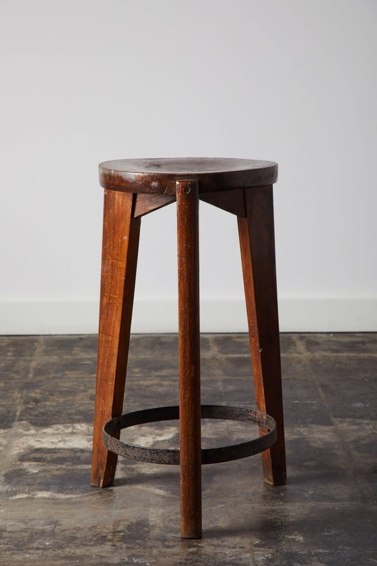 Set of Four Stools by Pierre Jeanneret for Punjab University in Chandigarh For Sale 2
