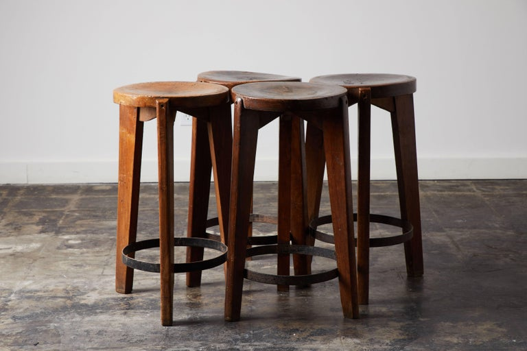 Set of Four Stools by Pierre Jeanneret for Punjab University in Chandigarh For Sale 3