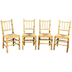 Set of Four Straw and Bamboo Vintage Chairs, Italy, 1960s