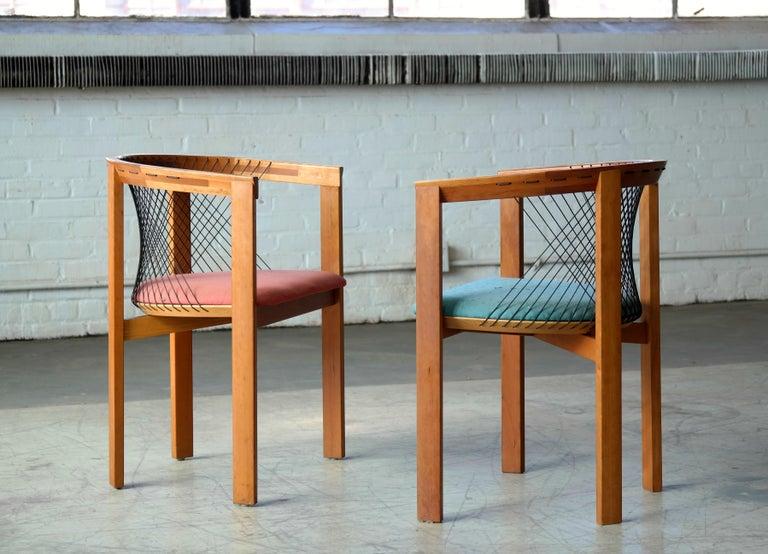 Set of Four String Dining Chairs by Niels Jørgen Haugesen for Tranekaer, Denmark For Sale 3