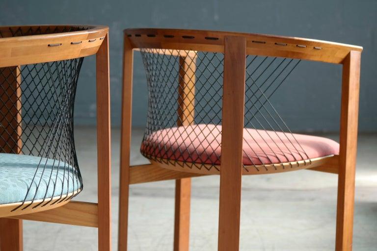 Set of Four String Dining Chairs by Niels Jørgen Haugesen for Tranekaer, Denmark For Sale 4