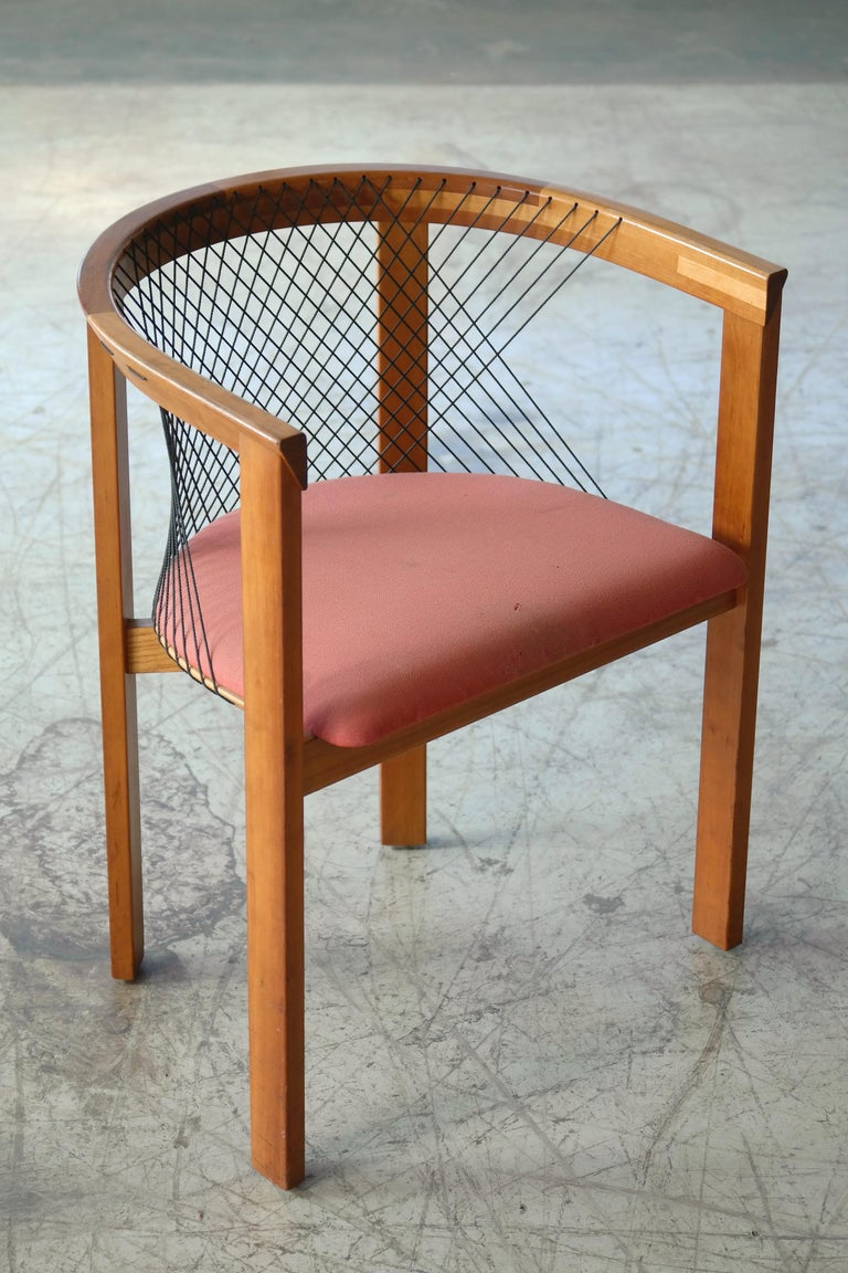 Set of Four String Dining Chairs by Niels Jørgen Haugesen for Tranekaer, Denmark For Sale 5