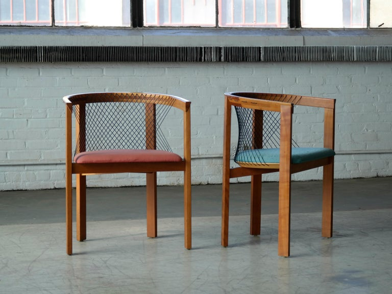 Mid-Century Modern Set of Four String Dining Chairs by Niels Jørgen Haugesen for Tranekaer, Denmark For Sale
