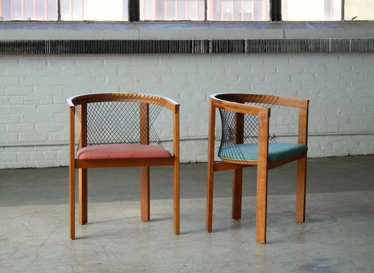 Danish Set of Four String Dining Chairs by Niels Jørgen Haugesen for Tranekaer, Denmark For Sale