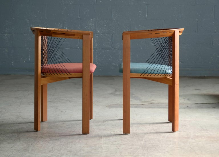 Set of Four String Dining Chairs by Niels Jørgen Haugesen for Tranekaer, Denmark In Good Condition For Sale In Bridgeport, CT