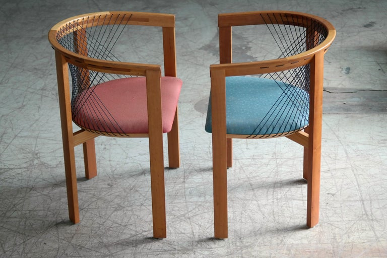 Late 20th Century Set of Four String Dining Chairs by Niels Jørgen Haugesen for Tranekaer, Denmark For Sale