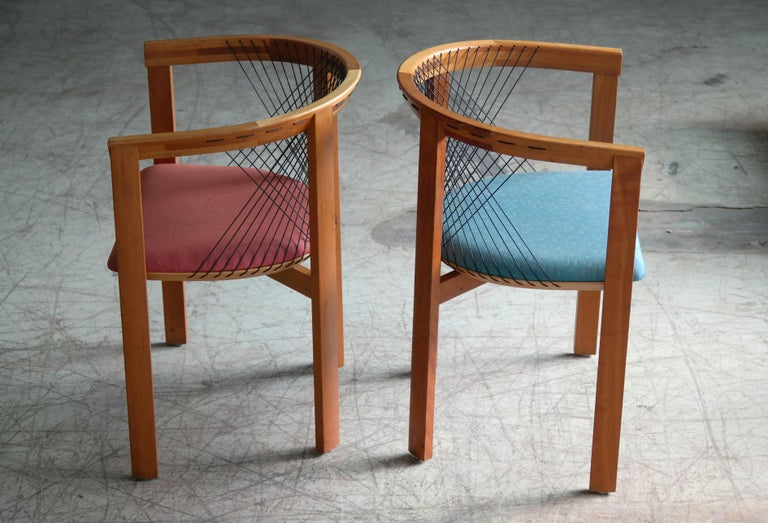Cherry Set of Four String Dining Chairs by Niels Jørgen Haugesen for Tranekaer, Denmark For Sale