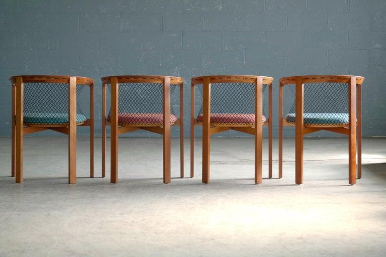 Set of Four String Dining Chairs by Niels Jørgen Haugesen for Tranekaer, Denmark For Sale 1