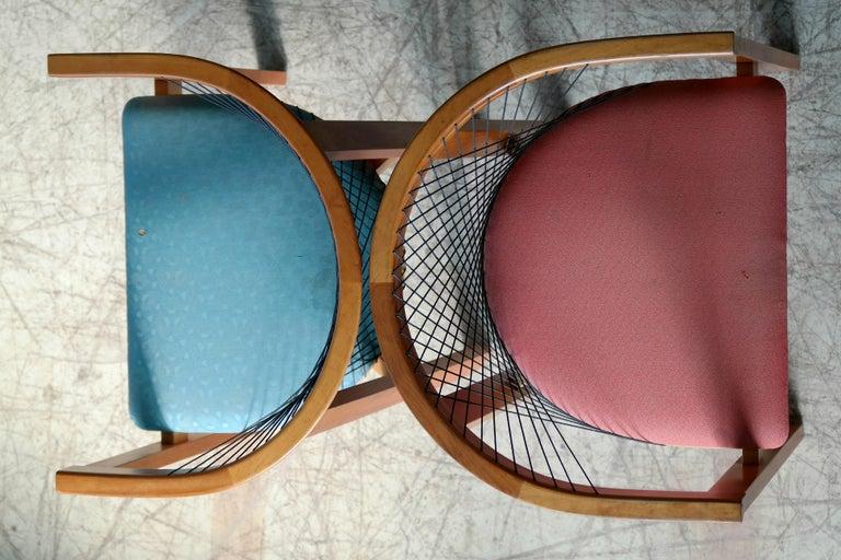 Set of Four String Dining Chairs by Niels Jørgen Haugesen for Tranekaer, Denmark For Sale 2