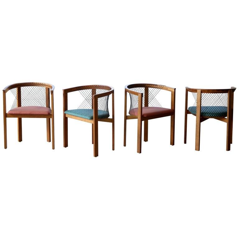 Set of Four String Dining Chairs by Niels Jørgen Haugesen for Tranekaer, Denmark For Sale