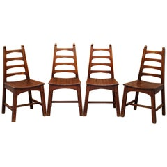 Set of Four Stylish Mid-Century Modern Red Oak Dining Chairs Nice Sculptural
