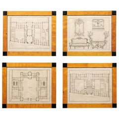 Set of Four Swedish Architectural Design Etchings in Karl Johan Period Frames