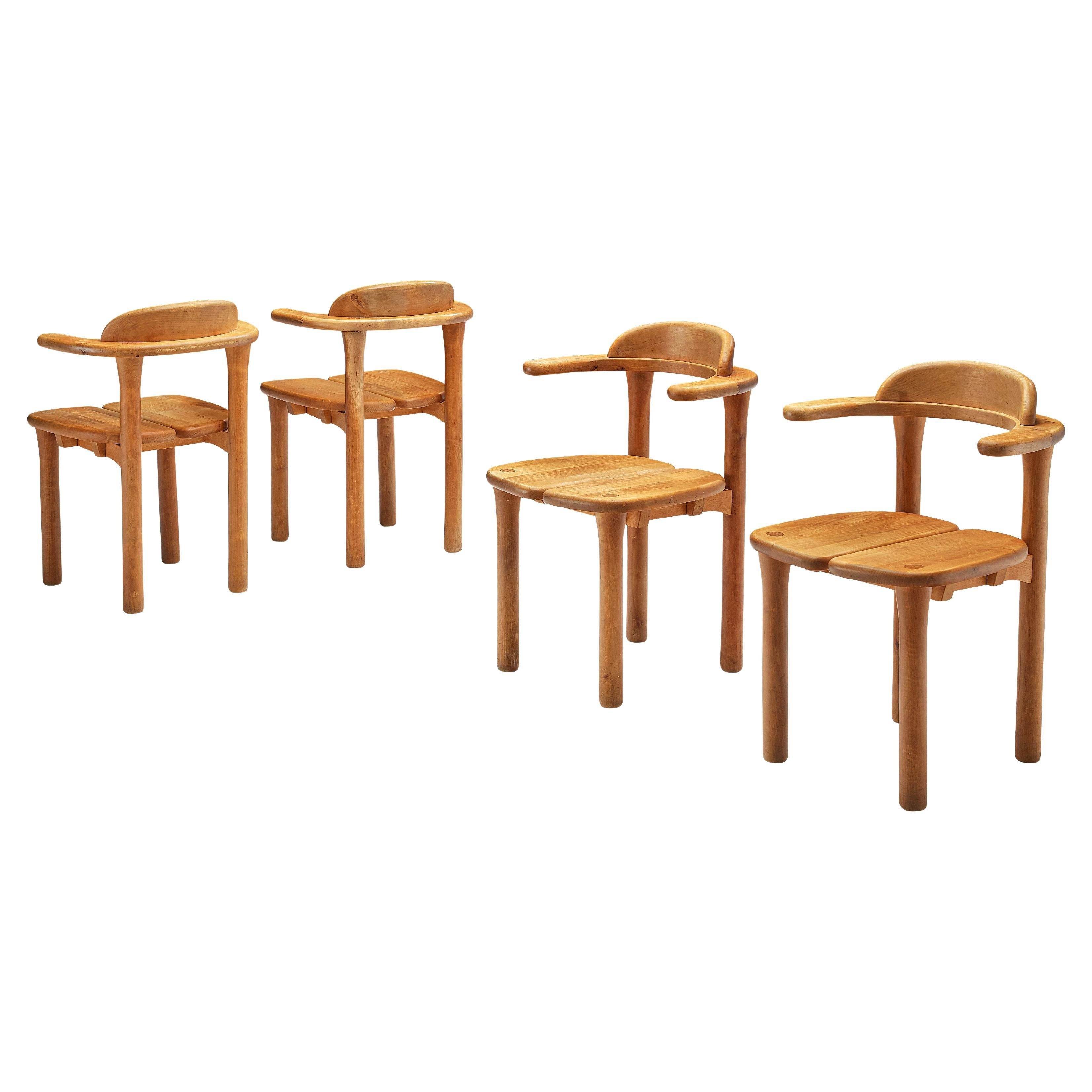 Set of Four Swedish Armchairs in Birch