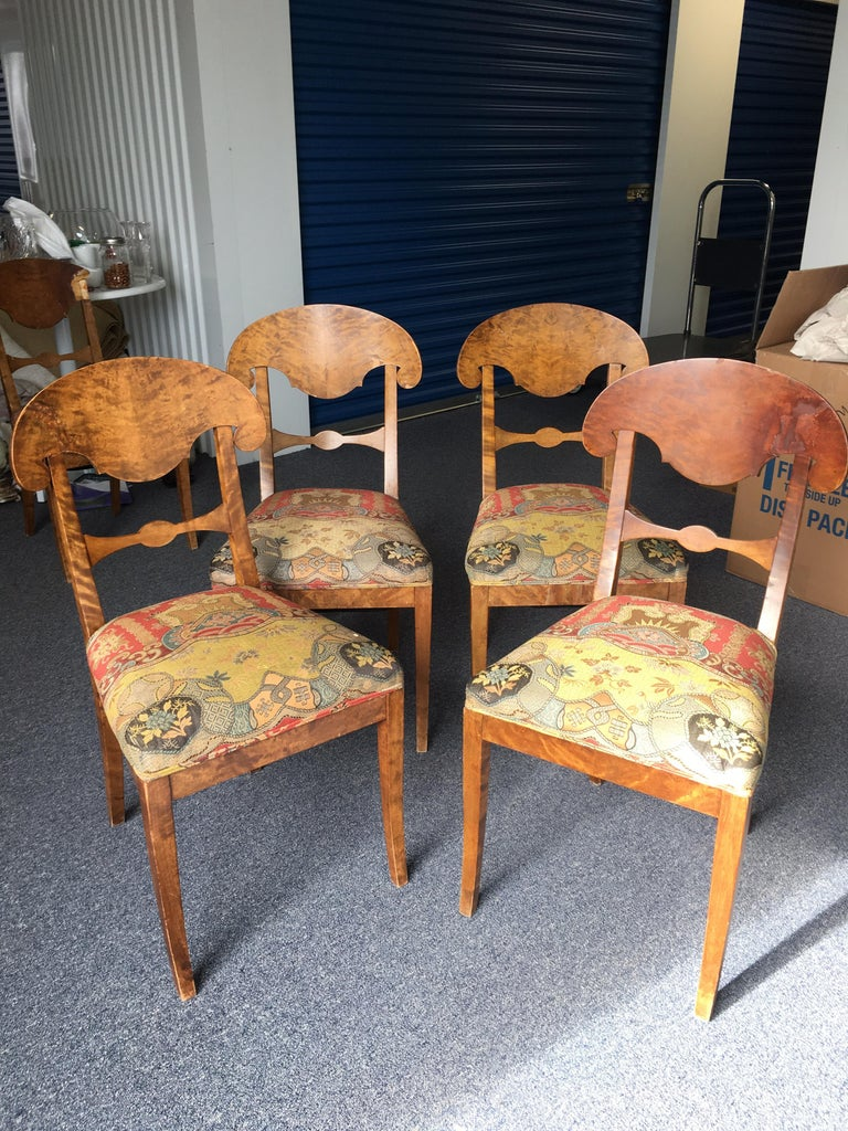 Set of Four Swedish Biedermeier Side Chairs In Fair Condition For Sale In Southampton, NY