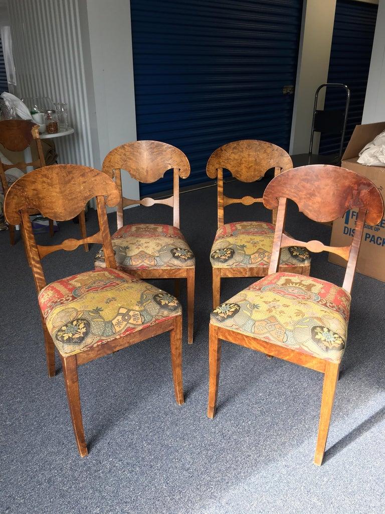 19th Century Set of Four Swedish Biedermeier Side Chairs For Sale