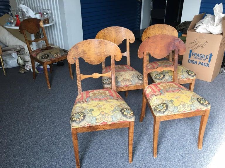 Wood Set of Four Swedish Biedermeier Side Chairs For Sale