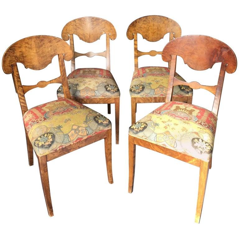 Set of Four Swedish Biedermeier Side Chairs For Sale