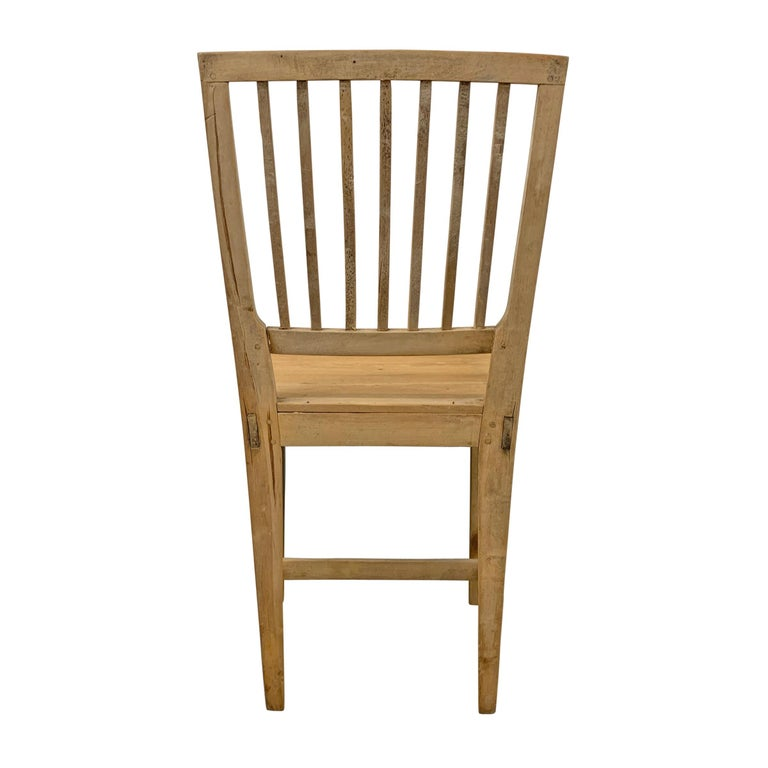 Set of Four Swedish Gustavian Pine Dining Chairs For Sale 6