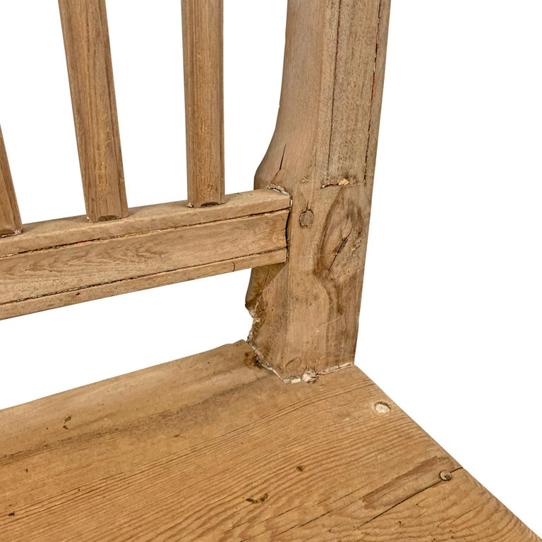Set of Four Swedish Gustavian Pine Dining Chairs For Sale 4