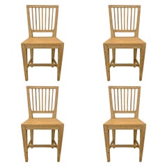 Set of Four Swedish Gustavian Pine Dining Chairs