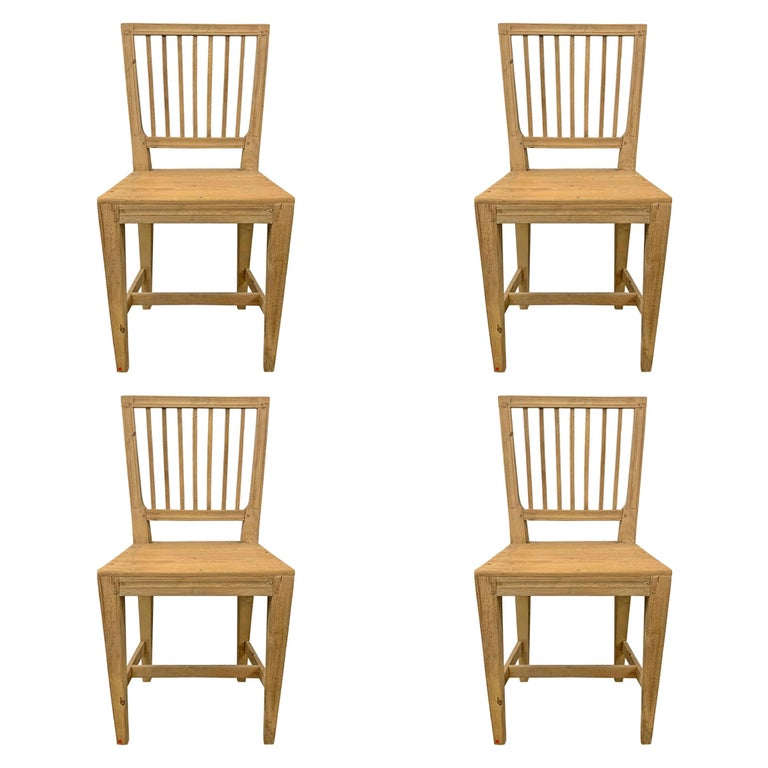Set of Four Swedish Gustavian Pine Dining Chairs For Sale