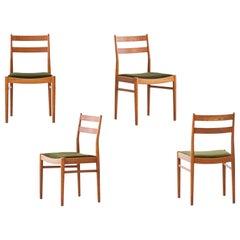 Set of Four Swedish Modern Teak and Green Moss Velvet Dining Chairs