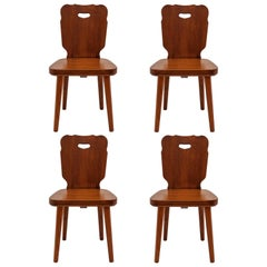 Set of Four Swedish Pine Chairs, 1890