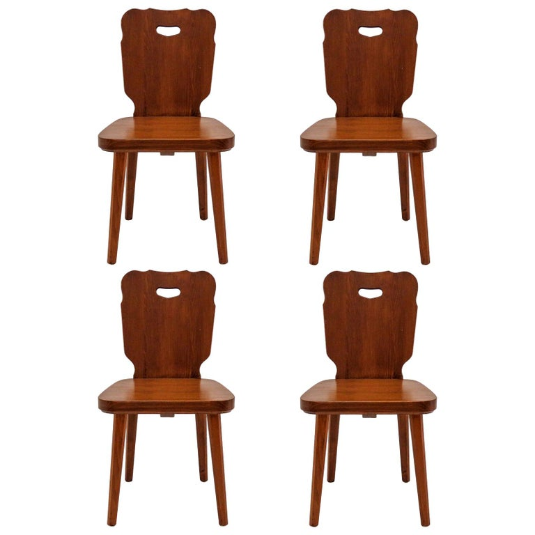 Set of Four Swedish Pine Chairs, 1890 For Sale