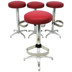 Set of Four Swivel Bar Stools in Red Leatherette and Metal