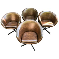 Set of Four Swivel Tub Chairs by Shelby Williams