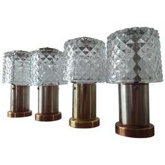Set of Four Table Lamps Kamenicky Senov, Preciosa, 1970s