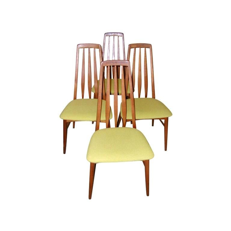 Set Of Four Tall Back Danish Modern Dining Room Chairs For