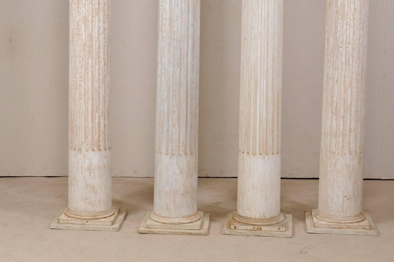 Set of Four 10.5 Ft. Tall Mid-20th Century Greek Doric Style Fluted Columns For Sale 3
