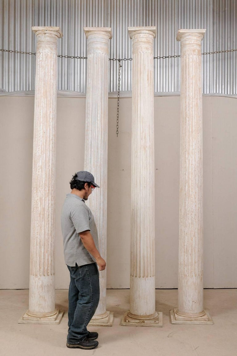Classical Greek Set of Four 10.5 Ft. Tall Mid-20th Century Greek Doric Style Fluted Columns For Sale