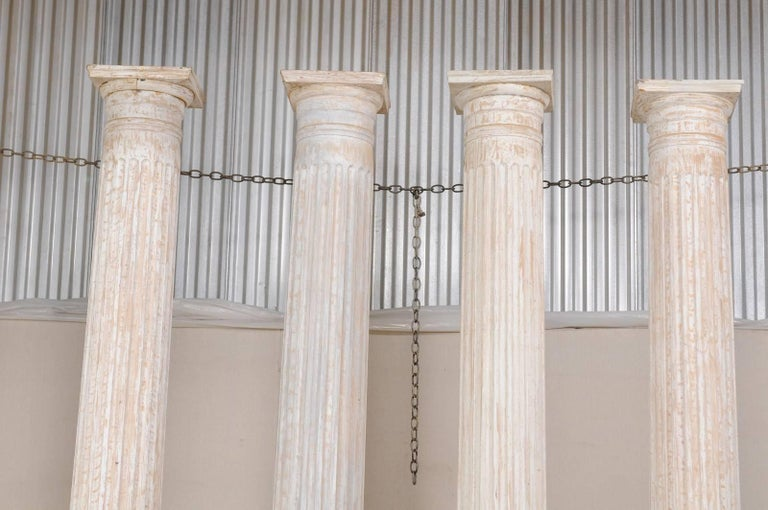 American Set of Four 10.5 Ft. Tall Mid-20th Century Greek Doric Style Fluted Columns For Sale