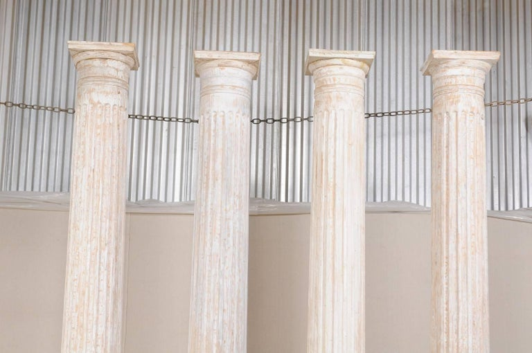 Carved Set of Four 10.5 Ft. Tall Mid-20th Century Greek Doric Style Fluted Columns For Sale